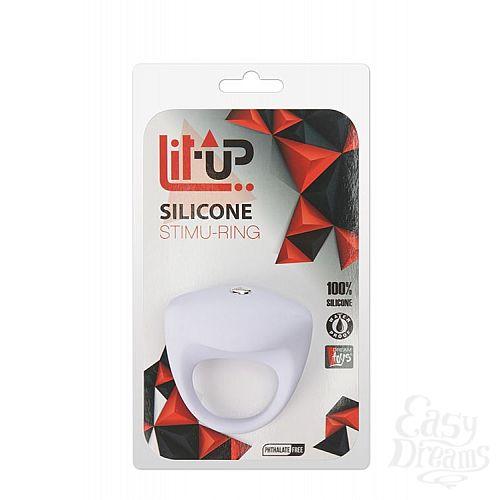 Фотография 2  Белое эрекционное кольцо LIT-UP SILICONE STIMU RING 8