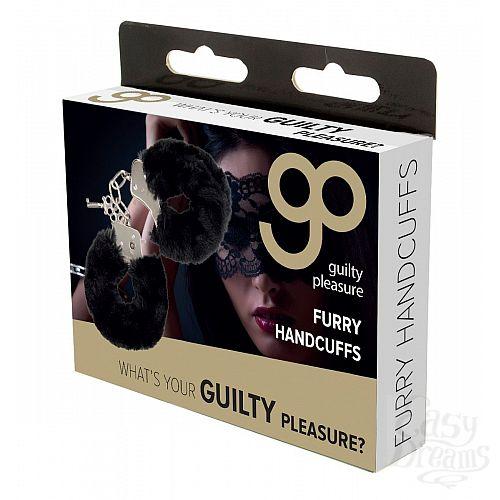 Фотография 2  Чёрные меховые наручники с ключиками Furry Handcuffs