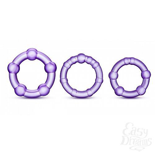 Фотография 1:  Набор из 3 фиолетовых эрекционных колец Stay Hard Beaded Cockrings
