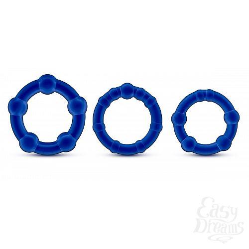 Фотография 1:  Набор из 3 синих эрекционных колец Stay Hard Beaded Cockrings