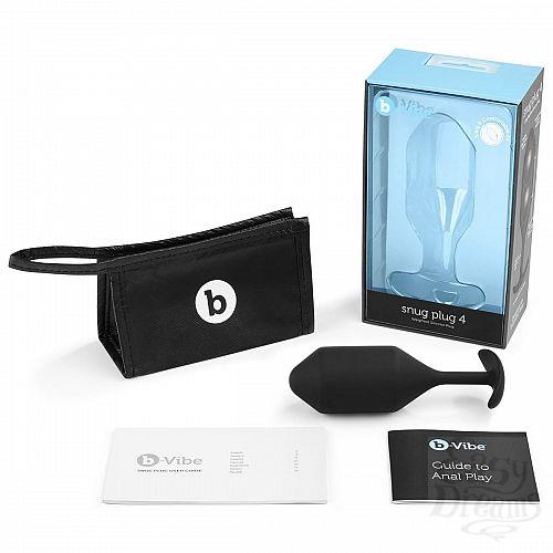 Фотография 4  Чёрная пробка для ношения B-vibe Snug Plug 4 - 14 см.