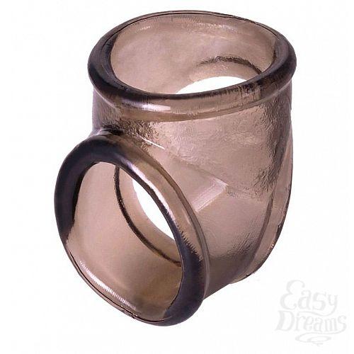 Фотография 1:  Дымчатое эрекционное кольцо с фиксацией мошонки