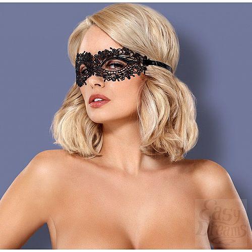Фотография 1:  Чёрная ажурная маска на глаза на завязках