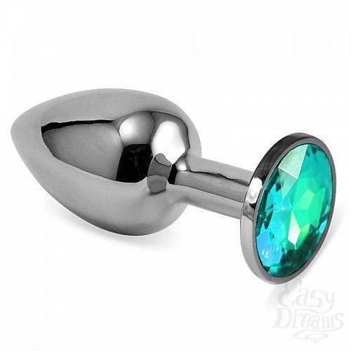 Фотография 1:  Серебристая анальная пробка с светло-зелёным кристаллом размера L - 9 см.