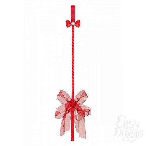 Фотография 2  Красный стек с бантом и бусинкой над шлепком
