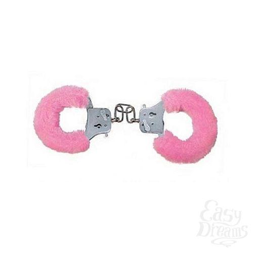 Фотография 1:  Розовые меховые наручники (ToyJoy 9501)