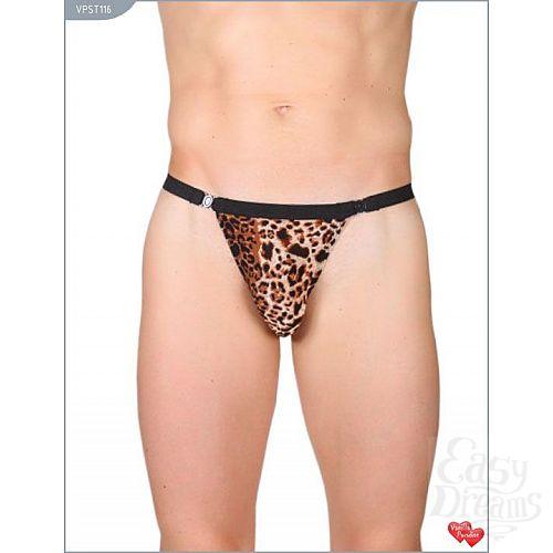 Фотография 1:  Леопардовые трусы-стринги с застежкой