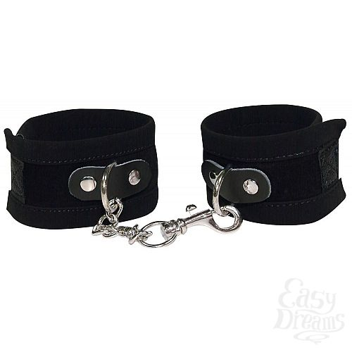 Фотография 1:  Чёрные замшевые наручники Bad Kitty Fesseln