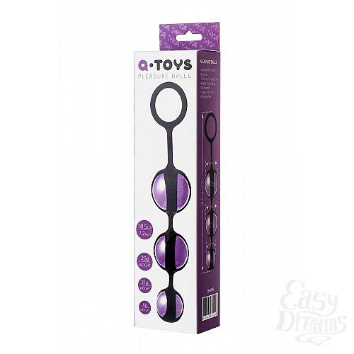 Фотография 3  Фиолетово-черные тройные вагинальные шарики TOYFA A-toys