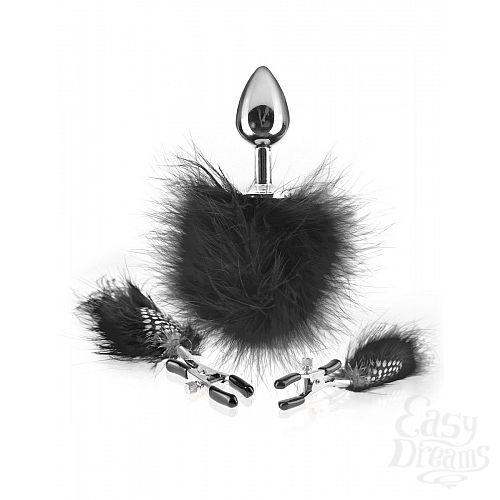 Фотография 2  Набор Feather Nipple Clamps   Butt Plug: зажимы на соски и анальная пробка с пёрышками
