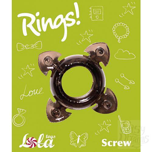 Фотография 2  Чёрное эрекционное кольцо Rings Screw