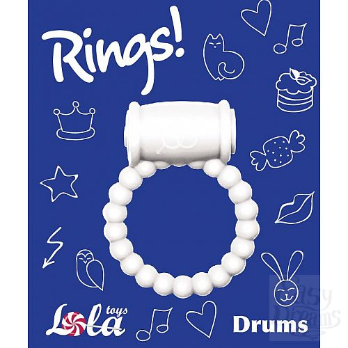 Фотография 3  Белое эрекционное кольцо Rings Drums