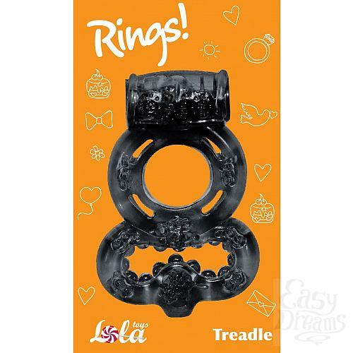 Фотография 2  Чёрное эрекционное кольцо Rings Treadle с подхватом