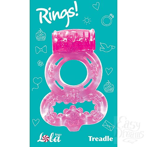 Фотография 3  Розовое эрекционное кольцо Rings Treadle с подхватом