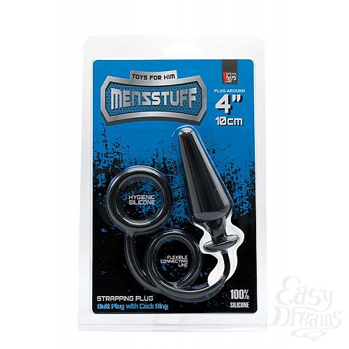 Фотография 2  Чёрное эрекционное кольцо с анальной пробкой MENZSTUFF 4INCH SINGLE RING ANAL PLUG