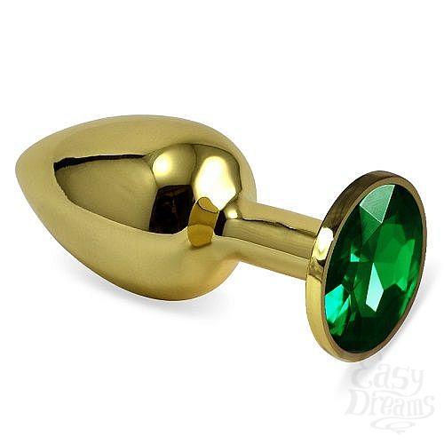 Фотография 1:  Золотистая анальная втулка с зеленым кристаллом - 7 см.