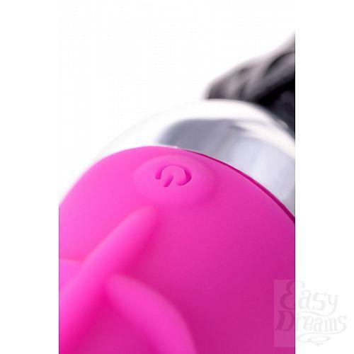 Фотография 9  Розовый вибратор с чёрной полиуретановой плёткой - 16 см.
