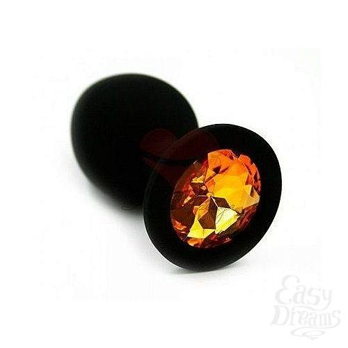 Фотография 1:  Чёрная анальная втулка с оранжевым кристаллом - 7,3 см.