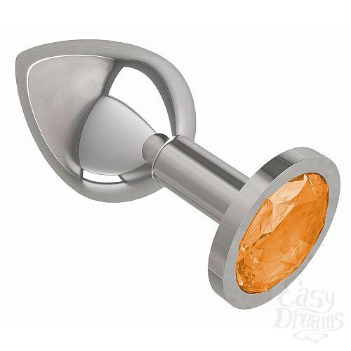 Фотография 2  Серебристая средняя пробка с оранжевым кристаллом - 8,5 см.
