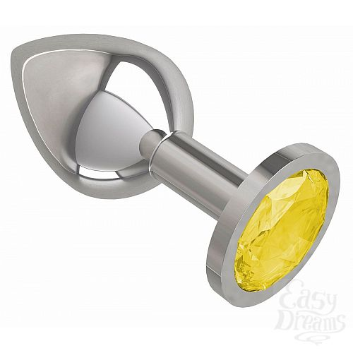 Фотография 2  Серебристая средняя пробка с желтым кристаллом - 8,5 см.