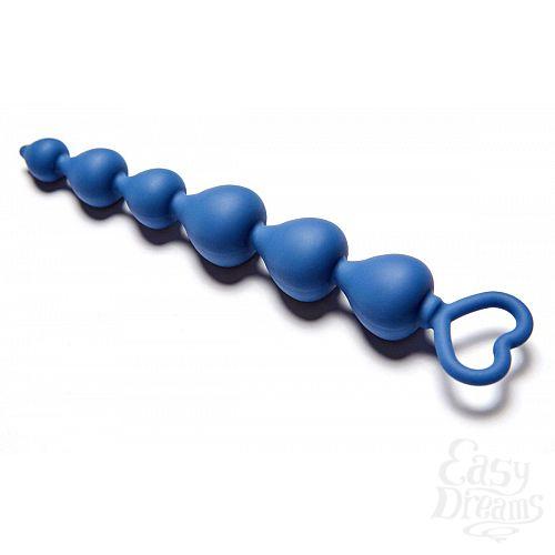 Фотография 2  Синяя анальная цепочка Heart Ray - 17,5 см.