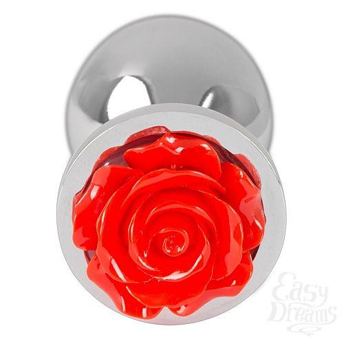 Фотография 2  Серебристая втулка с красной розочкой в основании - 9 см.
