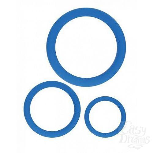 Фотография 1:  Набор из 3 эрекционных колец синего цвета