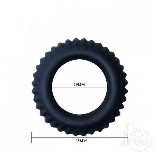 Фотография 2  Черное силиконовое эрекционное кольцо-шина Sex Expert