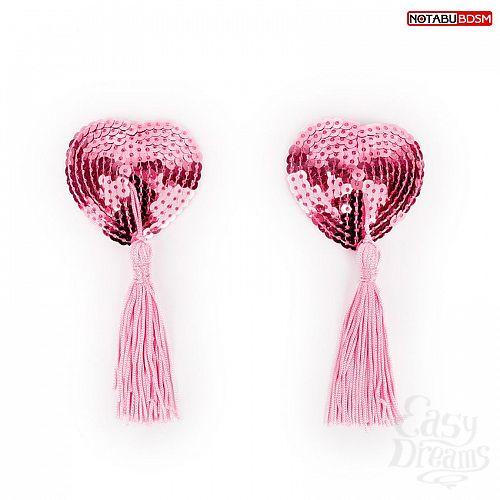 Фотография 1:  Розовые текстильные пестисы в форме сердечек с кисточками