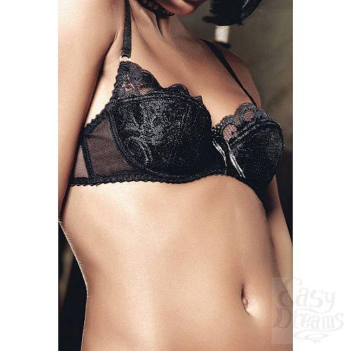 Фотография 2 Baci Lingerie Black Label Deeper in Hell Бюстгальтер черный с мягкими чашечками ,косточками и кружевом c серебристым украшающи