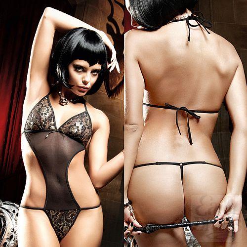Фотография 4 Baci Lingerie Black Label Deeper in Hell Монокини кружевно черный из тюлевой ткани с золотистыми орнаментами