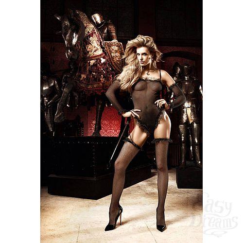 Фотография 1: Baci Lingerie Black Label Deeper in Hell Боди черный с полуперчатками и чулками в сеточкуOS (42-46)