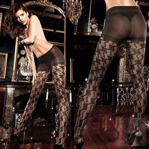 Фотография 4 Baci Lingerie Black Label Deeper in Hell Колготки черные с волнистым узором OS (42-46)