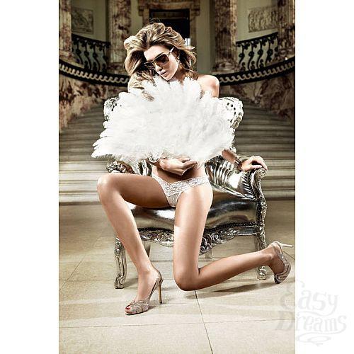 Фотография 1: Baci Lingerie Black Label Back in Heaven G-Стринги белые из тюлевой ткани с узором в ромб и кружевной манжеткой; ML
