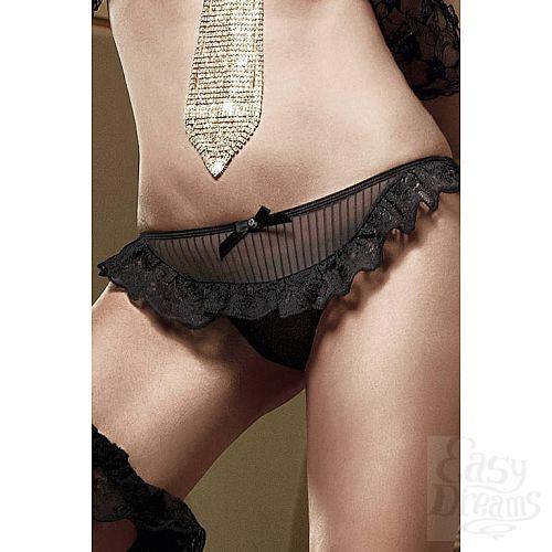 Фотография 2 Baci Lingerie Black Label Agent Of Love Трусики черные из тюлевой ткани в полосочку и рюшами; ML