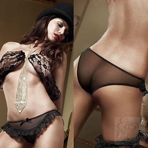 Фотография 4 Baci Lingerie Black Label Agent Of Love Трусики черные из тюлевой ткани в полосочку и рюшами; ML