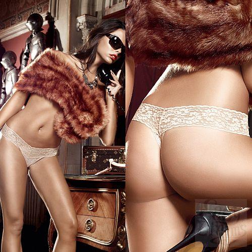 Фотография 4 Baci Lingerie Black Label Agent Of Love G-Стринги бежевые из тюлевой ткани с узором в ромб и кружевными краями; ML