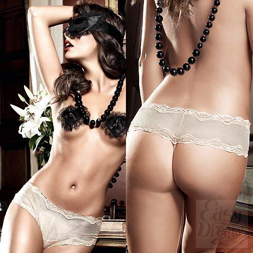 Фотография 4 Baci Lingerie Black Label Agent Of Love Трусики Boyshorts цвета слоновой кости из тюлевой ткани с кружевной кромкой; ML