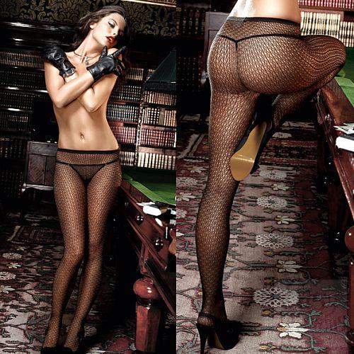 Фотография 4 Baci Lingerie Black Label Agent Of Love Колготки черные с узором в сеточку OS (42-46)