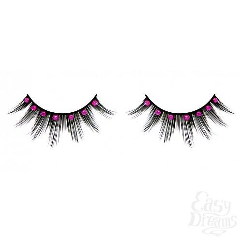 Фотография 1: Baci Lingerie Ресницы чёрные с розовыми  стразами