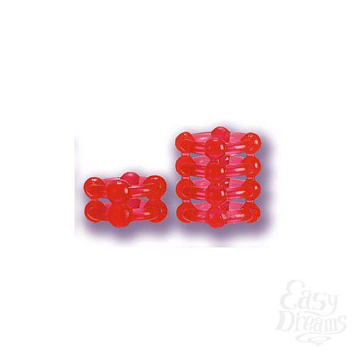 Фотография 1:  Два красных эрекционных кольца на пенис BUCKSHOT