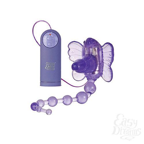 Фотография 2 California Exotic Novelties Стимулятор клитора на ремнях Waterproof Venus Penis Stimulator с анальной цепочкой фиолетовый