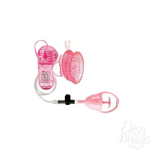 Фотография 2 California Exotic Novelties Стимулятор клитора с помпой Butterfly Clitoral Pump с вибрацией розовый