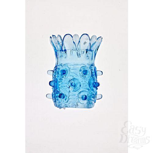 Фотография 1:  Голубая насадка на фаллос с шипами в виде ананаса