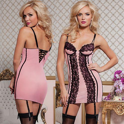Фотография 1: Seven`til Midnight, США  Обтягивающее нежно-розовое платьице STM-9740PNKL
