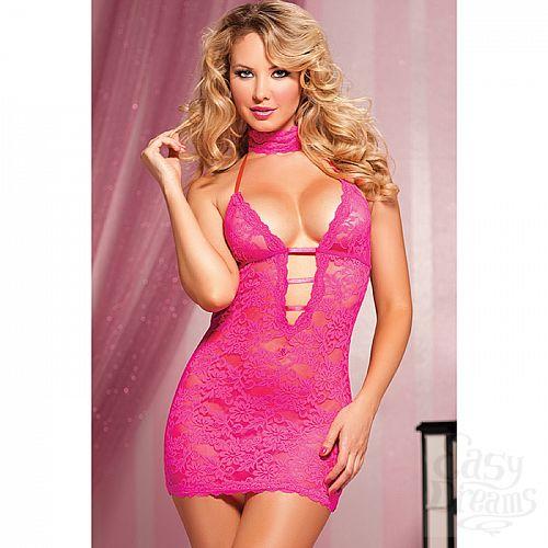 Фотография 2 Seven`til Midnight, США  Ажурное розовое платье с глубоким декольте  STM-9217PPNK