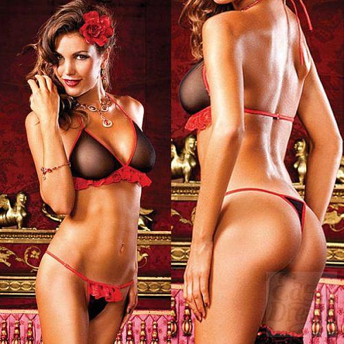 Фотография 4  Spanish Комплект белья OS (42-46), черный/красный