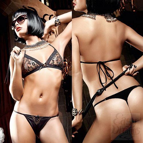 Фотография 4  Deeper in Hell Комплект золотисто-черный кружевной комплект бикини
