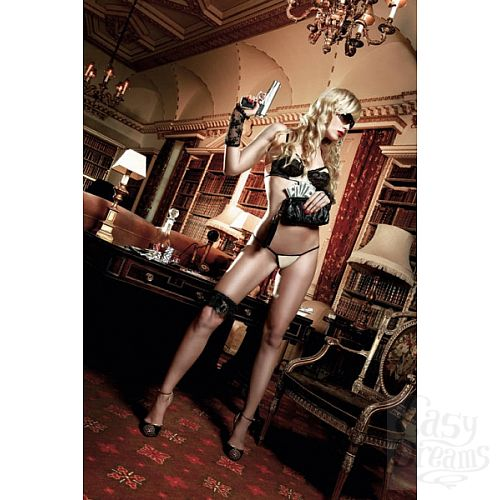 Фотография 1:  Светло-бежевый комплект-бикини  с черными кружевными элементами и косточками Agent Of Love
