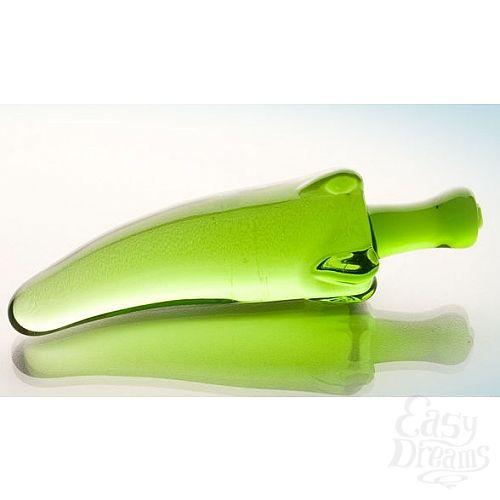 Фотография 1:  Зелёный анальный стимулятор из стекла в форме перчика